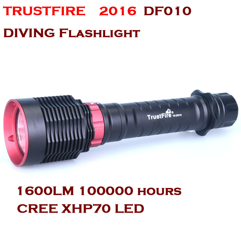 2016 NEW TrustFire DF010 LED Diving flashlight CREE XHP70 1600 Lumens Diving IPX8 50M By 26650