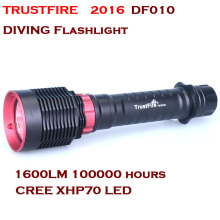 2016 NEW TrustFire DF010 LED Diving flashlight CREE XHP70 1600 Lumens Diving IPX8 50M By 26650 Battery flashlight
