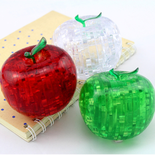 Popular 44 Pieces Shape Components 3D Crystal Puzzles Apple Jigsaw Puzzles Assembly DIY Toy New HOT