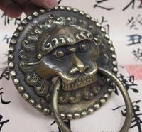 Copper Brass Craft B0602 512Chinese Folk Feng Shui Bronze Copper Lion Beast Head Avoid Evil Door