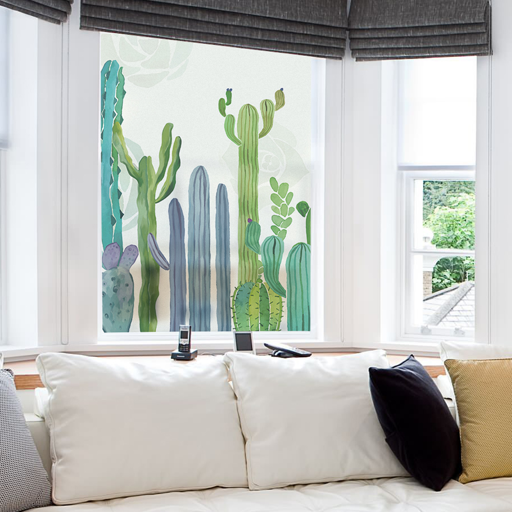 Glass Window Film Frosted Opaque Privacy Glass Films 45*60 Cm/60*90 Cm/80*120 Cm Home Decor Window Decoration Blt1086 Cactus Modern Techniques Decorative Films
