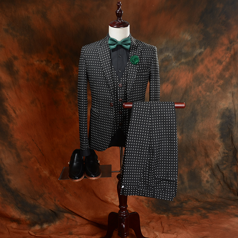 New Fashion Black Dot 3 Pieces Mens Suits Wedding Suits for Men Groom Tuxedos Business F ...