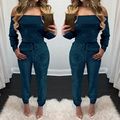 Hot Sale 2017 Autumn Velvet Rompers Womens Jumpsuits Long Playsuit Solid Long Sleeve Slash Neck Sexy Off Shoulder Overalls