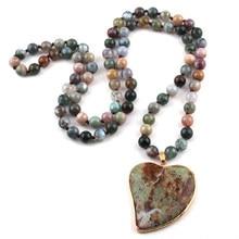 Nowa moda czeski biżuteria indie Agated kamień naturalny wiązane Multicolor kamień serce wisiorek kobiety naszyjniki darmowa wysyłka