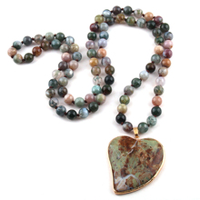 New Fashion Bohemian Jewelry India Agated Natural Stone Knotted Multicolor Stone heart Pendant Women Necklaces Free Shipping