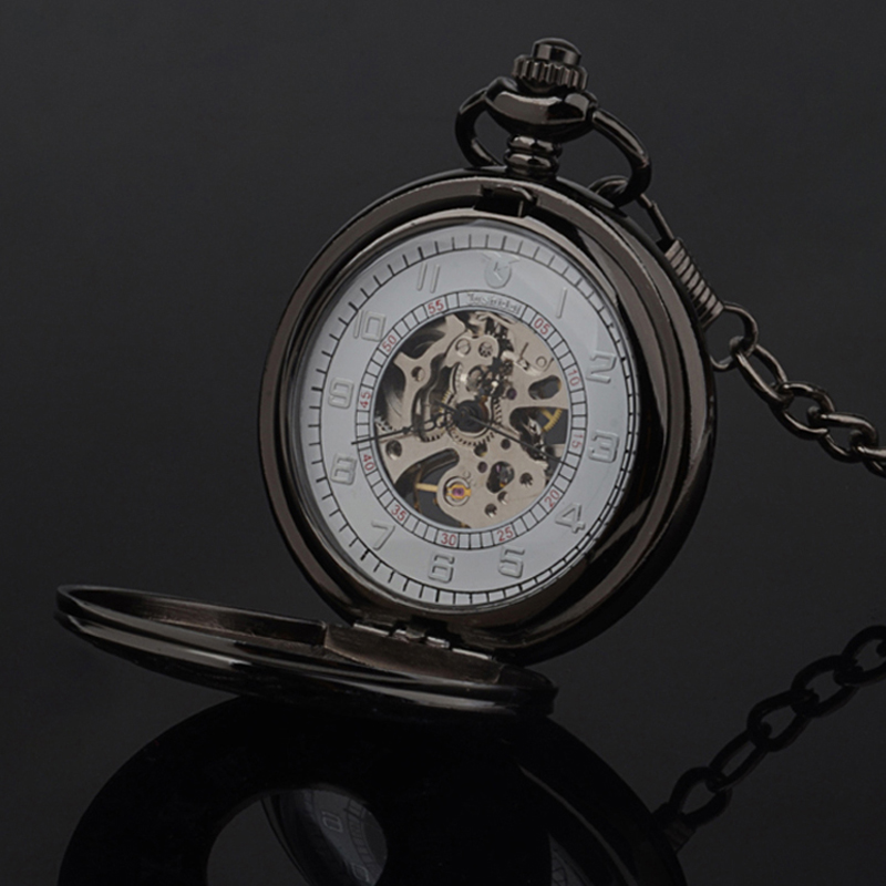 Mens Chic Style Automatic Mechanical Roman Number Pocket Watch Chain Steampunk Luxury Vintage Skeleton Pendant Watch Gifts