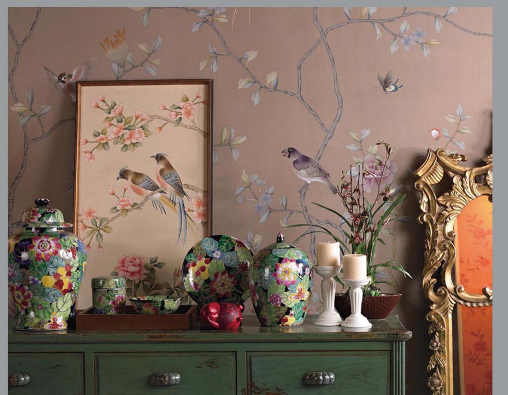 Hand painted silk wallpaper HAND PAINTED wallcovering painting Cherry flowers with birds many pictures and backgrounds optional home decoration hand painted silk wallpaper hand painted painting plant with birds flowers many pictures backgrounds optional