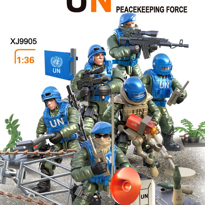 Modern military army United Nations Peacekeeping forces action figures building bricks ww2 minifigs weapons mega blocks toys
