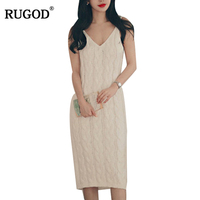 RUGOD 2018 New Autumn Winter Vintage Knitted Sweater+Sleeveless dress Suit Women Elegant Two 2 Pieces Dress Set Sweater suit