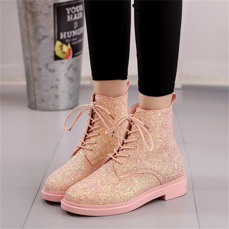Aliexpress.com   Buy Brand Designers Women Ankle Boots Heels Female Shoes  Woman Autumn Glitter Lace Up Boots Casual Bling Pink Black White H 123 from  ... 78a5dd7dbcac