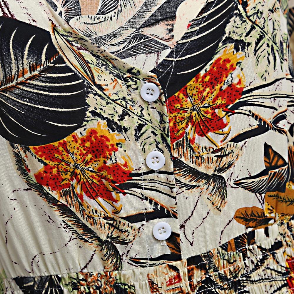 VESTLINDA Vintage Dress Allover Floral Print Elestic Waist Split Long Dress V Neck 34 Sleeve Robe Femme Women 2017 Summer Dress 8
