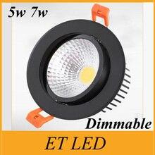 5 Вт 7 Вт Led Cob затемняемый светильник черный/серебристый/белый корпус Вход AC 85-265 в теплый/холодный/естественный белый 120 Угол луча энергосберегающий