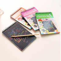 Magic Drawing Book DIY Scratch Notebook Black Cardboard as Kid's Gift Stationery School Supplies