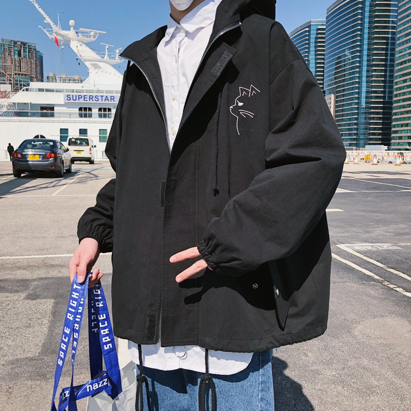 men jackets Spring Clothes New Best Pattern Fashion Japanese Subtitle Embroidery Korean Leisure Time Loose Coat Free shipping