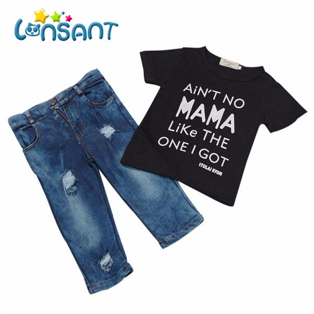 4a99d3702 LONSANT Toddler Kid Infant Baby Boy Clothes Short Sleeve T-shirt Fashion  Top+Denim Pant Outfit Boys Clothes 1Set