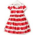 Crianças roupas girls dress red green apple impressão lacing manga curta cinto weet kid-algodão de manga curta dom gratuito grátis