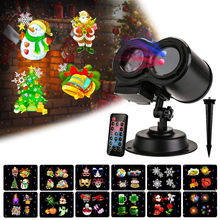 Outdoor Moving Full Sky Star Christmas Laser Projector Lamp with 12 Slides Patterns LED Stage Light Landscape Lawn Garden Light недорого