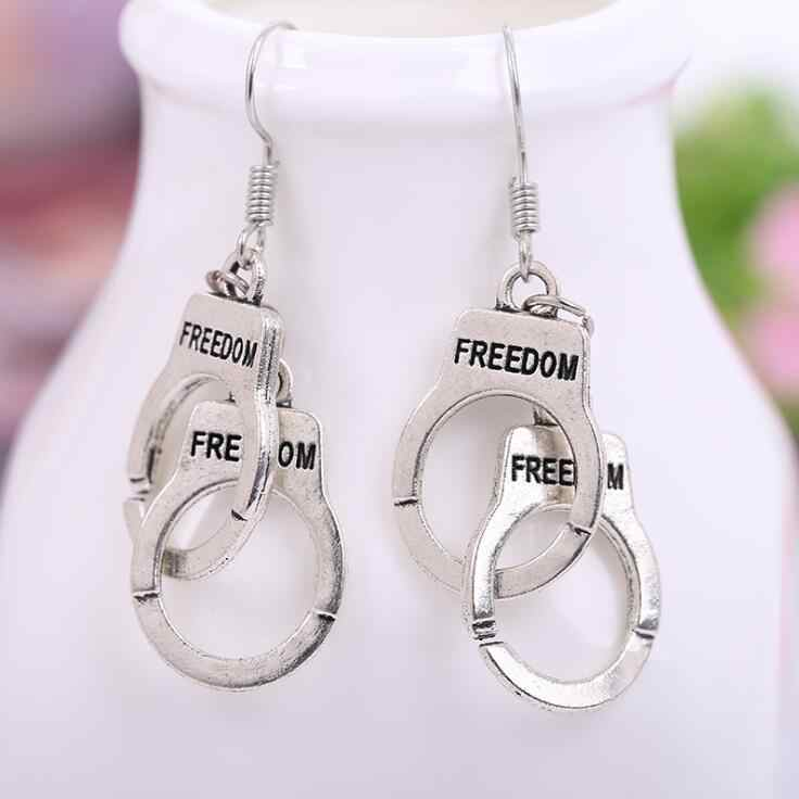 Retro srebrny vintage kajdanki dangle kolczyki dla kobiet party biżuteria prezenty stop niklu wj070