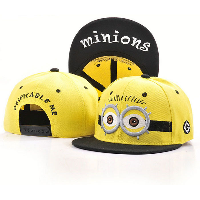 2018 New Brand Snapback   caps   character minions pattern adjustable snapback unisex hat letter Embroidery   baseball     caps