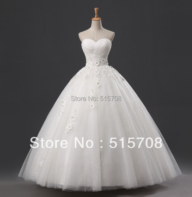 Gorgeous ball gown sweetheart floor length flowers lace up for Beautiful ivory wedding dresses
