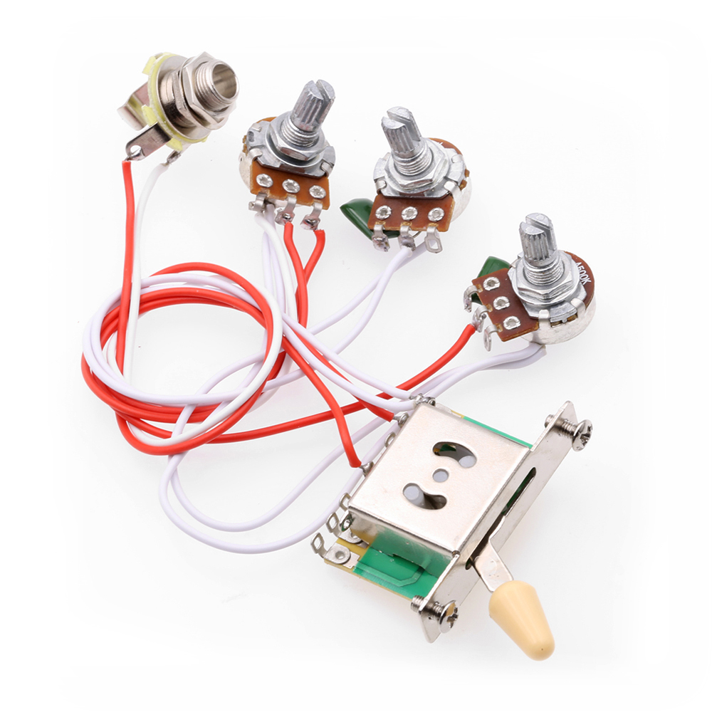 1v2t 5 way switch 500k pots jack for fender strat wiring  guitar wiring harness kit 5 way switch