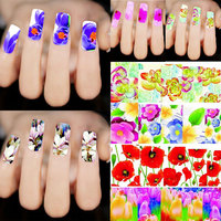 New Fashion 50pcs Mixed Flowers Nail Art Decals Water Transfer Stickers Decoration Manicure DIY Beauty