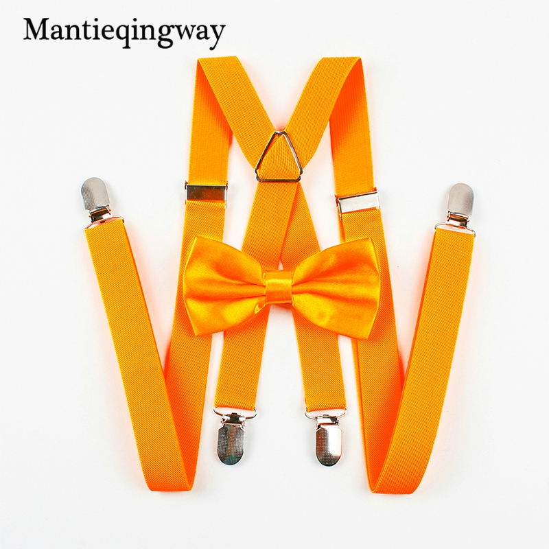 Mantieqingway Fashion Solid Color Suspenders Bow Tie Set Men Four Clips-on Braces Mens Suspender For Wedding Bow Ties For Men