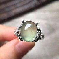 Gems 10.5*9mm mode-sieraden s925 zilveren klassieke en elegante Druif steen prehniet ring vrouwen ringen