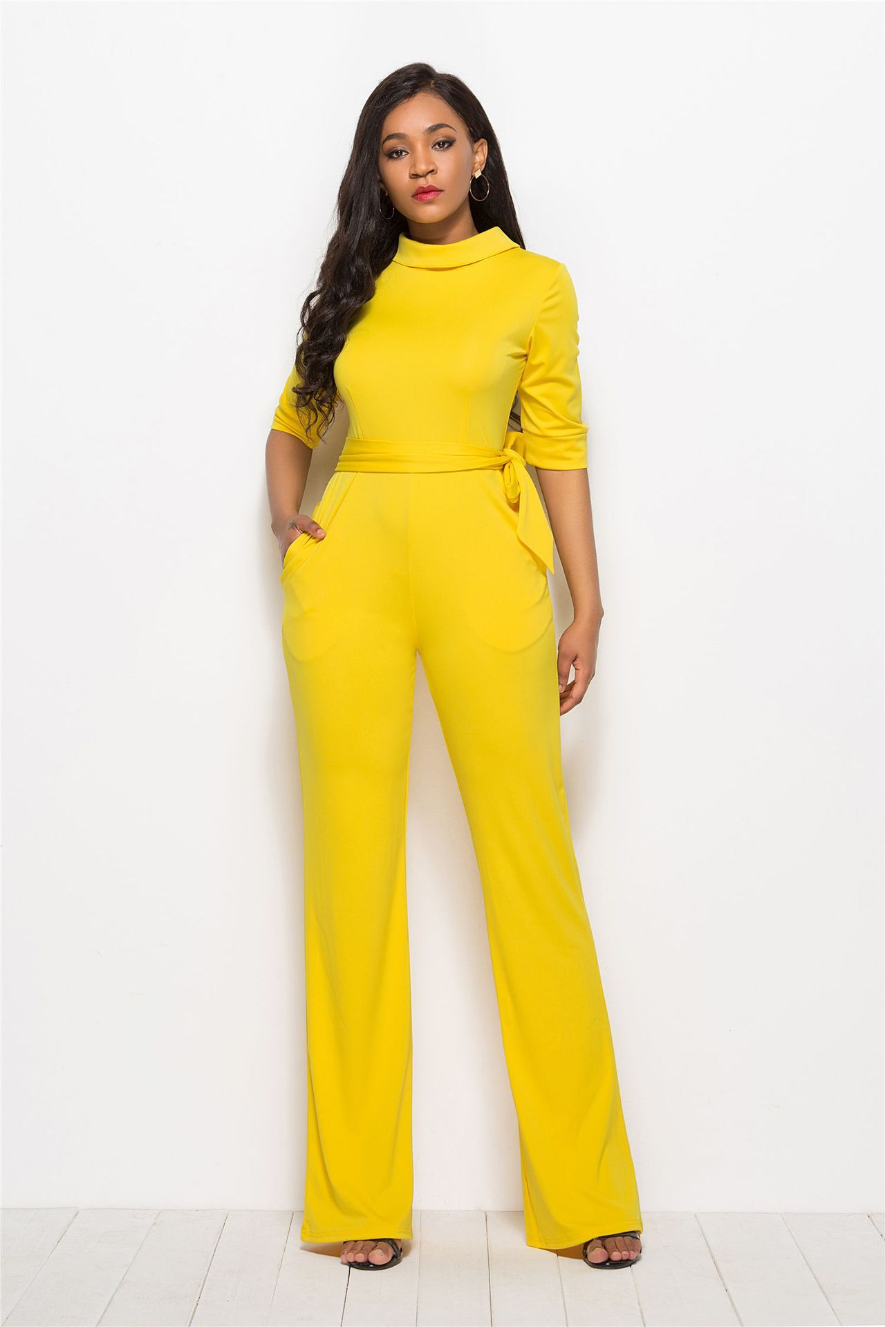 Sexy Bodysuit Real Vadim 2019 Hot Large Size Women 39 s Clothing Solid Color Half sleeve Jumpsuit Tie Waist Slim Trousers Women in Jumpsuits from Women 39 s Clothing