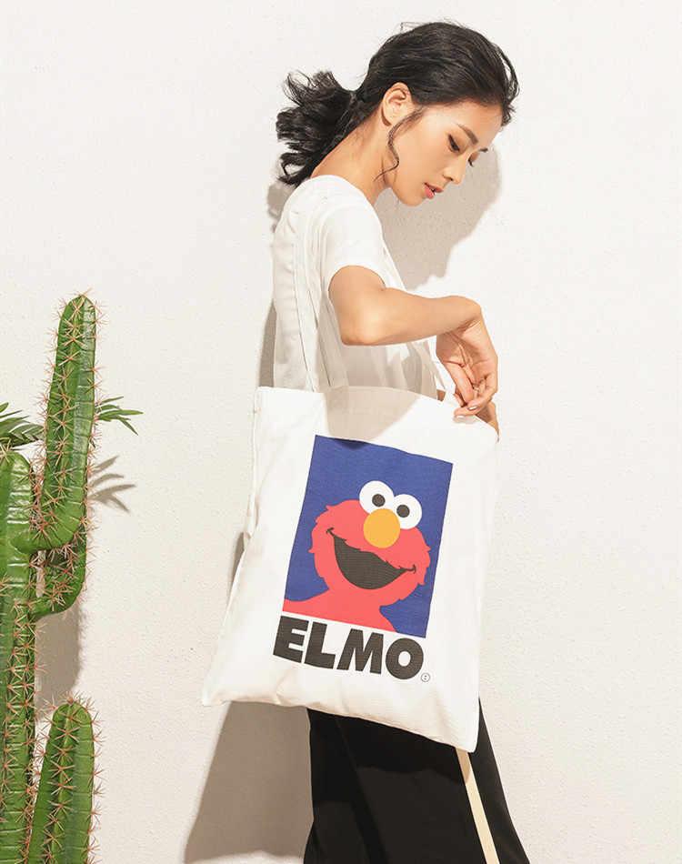 Płócienna torba na zakupy sezamkowa ELMO Scookie Monster Cute Cartoon włóknina torba na ramię wiadro na prezent dla dziewczyny