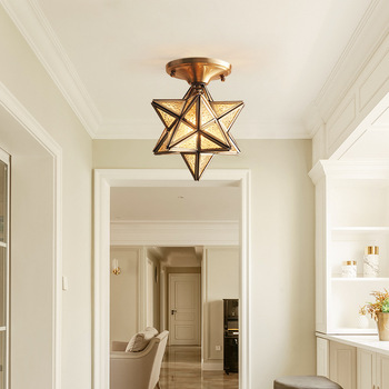 Abajur Lampshade LED Copper Living Room Ceiling Light Household Study Luminaria Bedroom Star Shape Nordic Hanging Lamp Fixtures