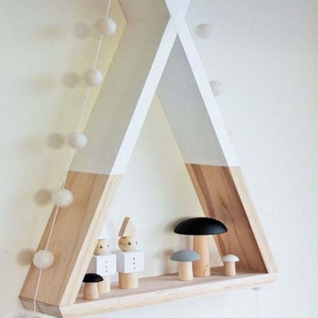 Lovely Triangular Storage Shelves Nordic Style Kids Baby Room Wooden Decorative Shelf Book Shelf for Bedroom Home Decoration 4