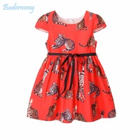 Budermmy Girls Cat Dress Bow Belt Red Dress For 2017 Summer Daily Life Princess Novelty Style