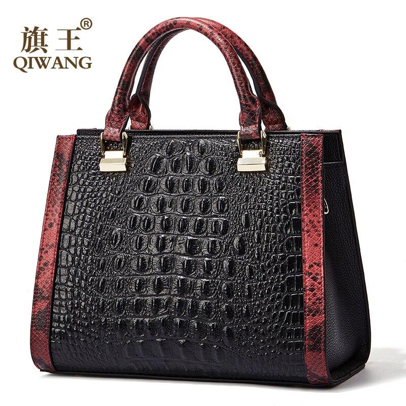 Qiwang Femmes En Cuir Véritable Sac À Main En Cuir Véritable Femmes Crocodile Sac À Main De Luxe Marque Designer Sac pour les Plus Riches Femmes Mode