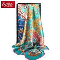 Chinese 100% Pure Zijden Sjaals Echarpes Foulard Bandana Sjaal en Wraps Luxe Merk Shawl Vrouwelijke Wraps Hijaabs Zijden Vierkante Sjaal
