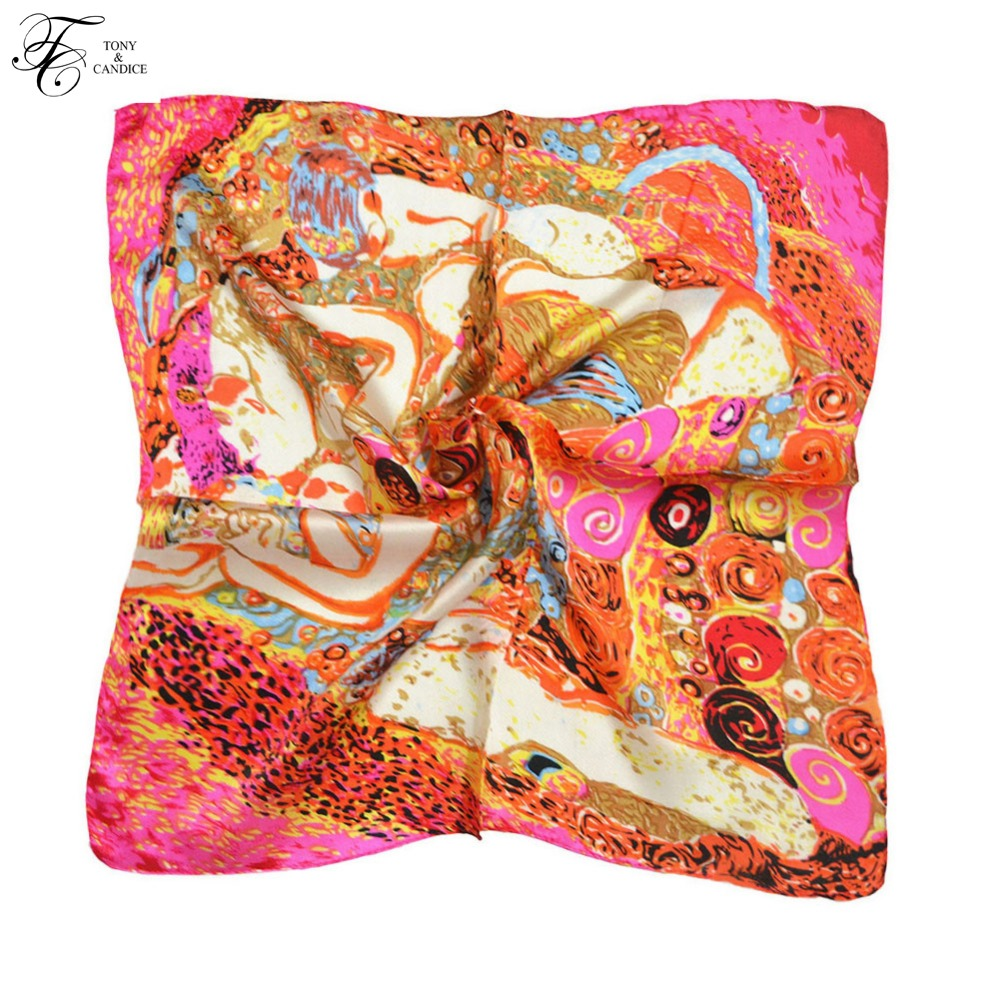 Syal Sutra Wanita Cetak Grafis 100% Silk SquareScarf - Aksesori pakaian - Foto 4