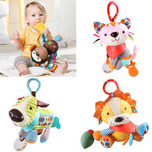 Baby Infant Cute Lion Plush Toy Comfort Towel with Sound Paper and Teether Dog Soft Appease Stuffed Toy Playmate Calm Doll 1-3