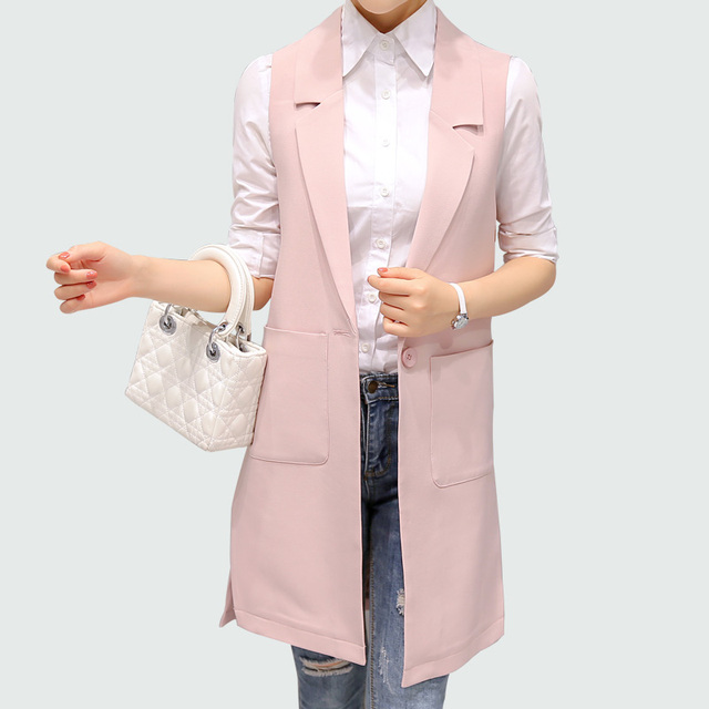 5b2e1adbff2bc Sleeveless Blazer Vest 2017 Autumn Long Vest Waistcoat Female Women Outwear  Longline Jacket Pocket Coat Black   Pink