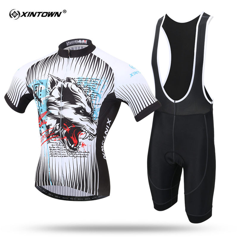 XINTOWN Short Sleeve Cycling Jersey Set MTB Bike Clothing Summer Bicycle Jerseys For Men Wolf Sweat Maillot Ropa Ciclismo