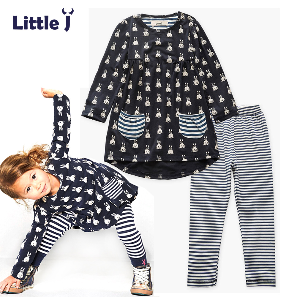Clearance Cartoon Rabbit Girls Clothing Sets Pocket Dress Striped Leggings Pants 2pcs Baby Children Suit Set Loose T Shirt Tops