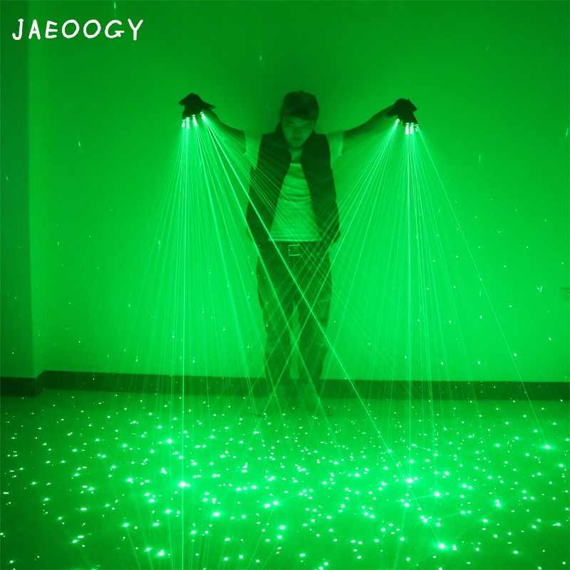 Free shipping New High quality green laser gloves nightclub bar party dance singer dance props DJ mechanical gloves LED light
