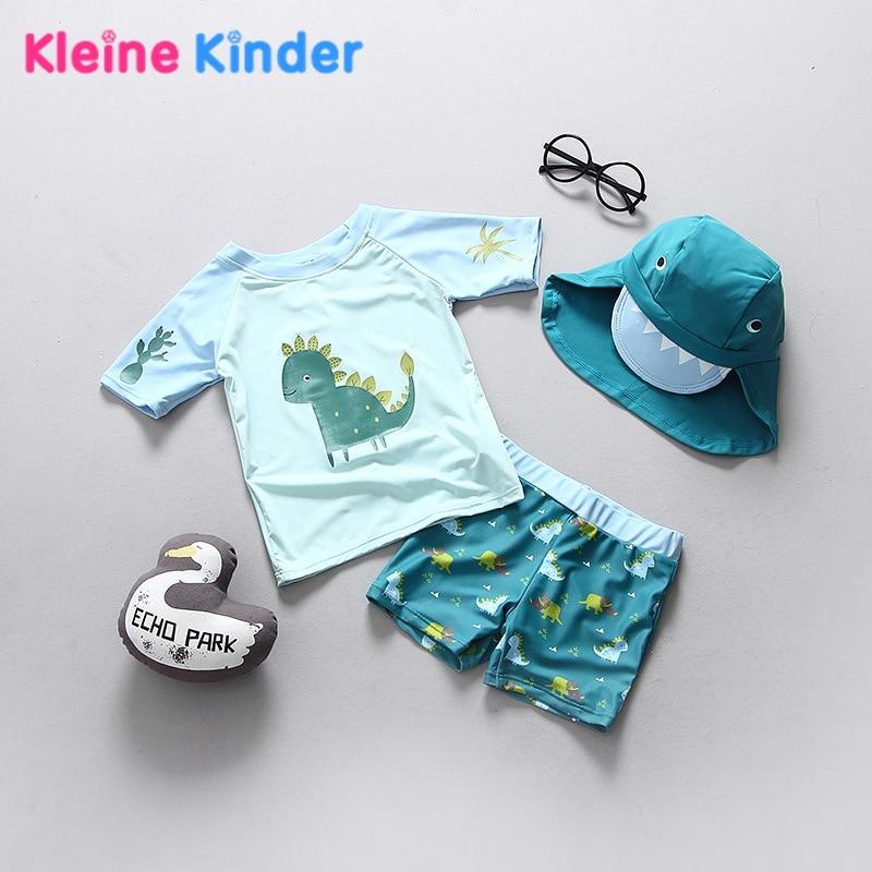 2018 Baby Toddler Boys Swimsuit Dinosaur Pattern Separate Boy's Swimwear Children Bathing Suit UPF50+ Anti-UV Sunblock Beachwear