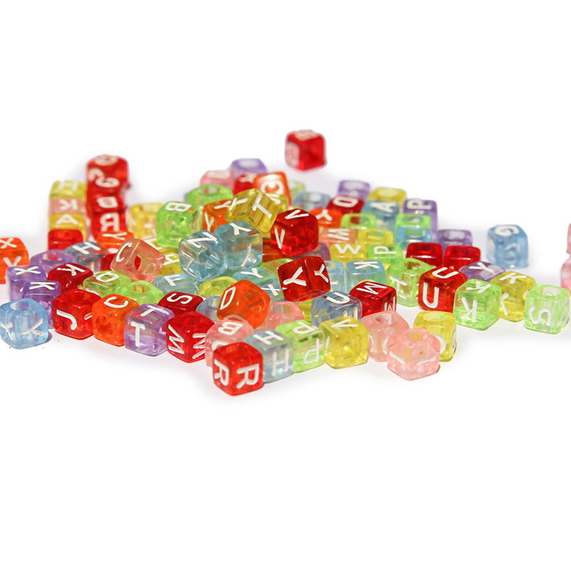 200 Pcs Transparent Colorful Alphabet Beads Letter Beads Cube Beads Puzzles DIY Loom Bands Bracelets Jewelry Toys 6x6mm