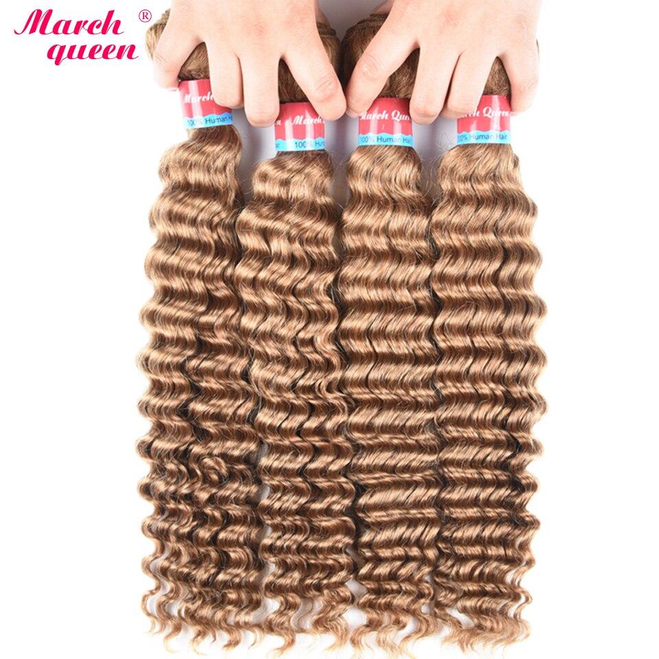 March Queen 27 Burmese Deep Wave Hair 4 Bundles Honey Blonde Color Human Hair Weave Non