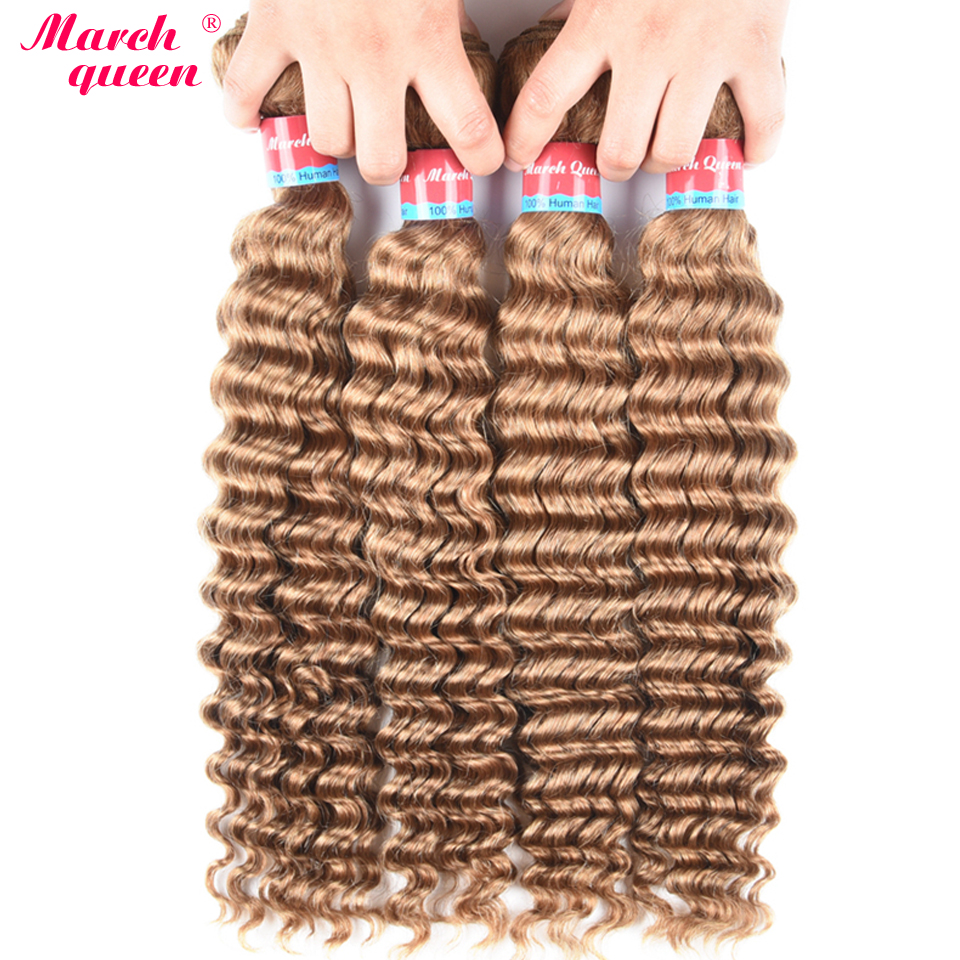 March Queen #27 Burmese Deep Wave Hair 4 Bundles Honey Blonde Color Human Hair Weave Non Remy Curly Hair Extensions