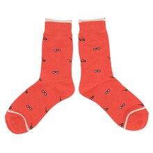 Womens spring autumn cotton crew socks fashion cute cartoon orange red sunglasses pattern wild college wind street trend