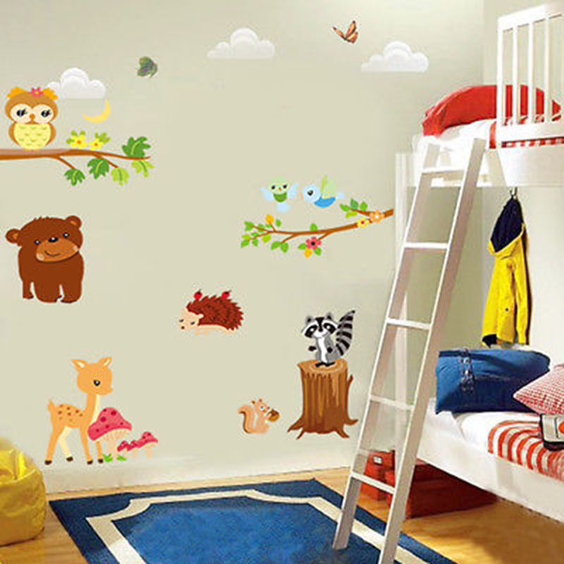 Nursery Children Room Wall Stickers Cute Owl Tree Forest Animal Cartoon Removable Home Decor Diy Wallpaper
