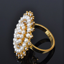 12PCS restaurant hotel pearl mouth cloth ring napkin metal buckle alloy