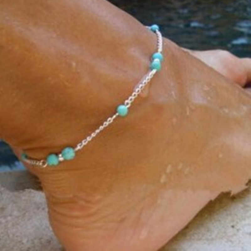 Sıcak 2019 1 Adet Benzersiz Güzel Boncuk Gümüş Zincir Halhal hatıra Ayak Bileği Bilezik ayak takısı Hızlı Yeni Sıcak Satış ayak bileği bilezik