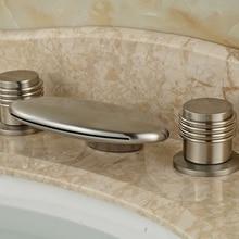 Stainless Steel Nickel Dual Handles Waterfall Bathroom Hot Cold Basin Faucet Deck Mount 3 Holes Water